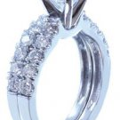 14k White Gold Round Cut Diamond Engagement Ring And Band Prong Set Prong 1.10ct