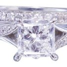 GIA H-SI1 18k White Gold Princess Cut Diamond Engagement Ring And Band 2.10ct