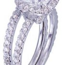 GIA H-VS2 18k White Gold Cushion Cut Diamond Engagement Ring And Band Halo 2.30c