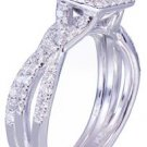 GIA F-SI1 14k White Gold Princess Cut Diamond Engagement Ring And Band 1.25ct