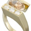 14k yellow gold oval morganite and round cut diamond ring semi tension 2.00ctw