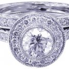 18k White Gold Round Cut Diamond Engagement Ring And Band Bezel Set Deco 1.40ct