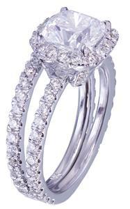 18k White Gold Cushion Cut Diamond Engagement Ring And Band 2.30ct I-VS2 EGL USA