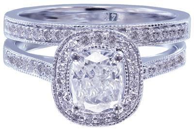 14K WHITE GOLD CUSHION CUT DIAMOND ENGAGEMENT RING AND BAND 1.75CT H-VS2 EGL USA