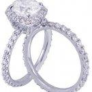 14k White Gold Cushion Cut Diamond Engagement Ring And Band 2.70ct I-SI1 EGL USA