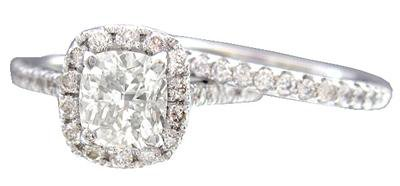 18K WHTIE GOLD CUSHION CUT DIAMOND ENGAGEMENT RING AND BAND 1.90CT G-VS2 EGL USA