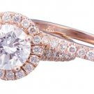 GIA F-SI1 14k Rose Gold Round Cut Diamond Engagement Ring And Band Halo 1.65ctw