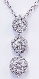 14k White Gold Round Cut Diamond Necklace And Chain Three Stone Style 1.00ctw