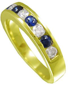 14K YELLOW GOLD ROUND CUT DIAMOND AND SAPPHIRE MEN'S BAND CHANNEL SET 1.00CTW