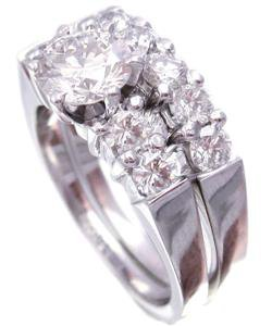 14K WHITE GOLD ROUND CUT DIAMOND ENGAGEMENT RING AND BAND ART DECO 1.74CTW