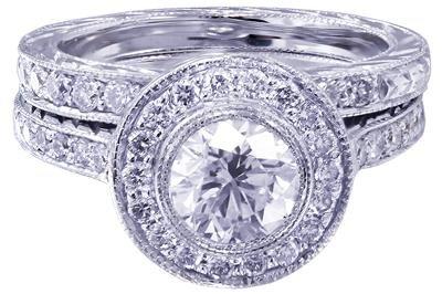 18K WHITE GOLD ROUND CUT DIAMOND ENGAGEMENT RING AND BAND BEZEL 1.70CT H-VS2 EGL