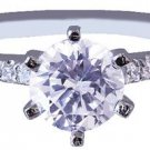 18k White Gold Round Cut Diamond Engagement Ring Prong Set Art Deco 0.90ctw