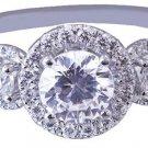 18k White Gold Round Cut Diamond Engagement Ring Art Deco Prong Set Halo 1.40ctw