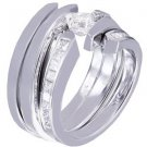 14K WHITE GOLD PRINCESS CUT DIAMOND ENGAGEMENT RING AND BANDS TENSION 1.25CTW
