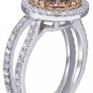 18k White Gold Round Cut Diamond Engagement Ring And Band Diamond Deco 1.65ct