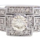 14K WHITE GOLD ROUND CUT DIAMOND ENGAGEMENT RING AND BANDS DECO 1.20CTW
