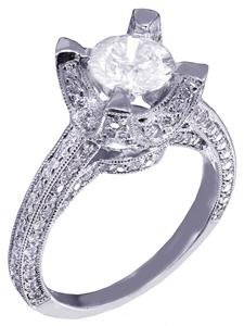 14k White Gold Round Cut Diamond Engagement Ring Art Deco Antique Style 1.55ct