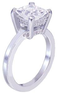 Platinum princess cut diamond engagement ring deco filigree 1.70ct H-VS2 EGL USA