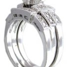 14K WHITE GOLD PRINCESS CUT DIAMOND ENGAGEMENT RING AND BANDS 1.21CTW