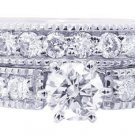 14K WHITE GOLD ROUND CUT DIAMOND ENGAGEMENT RING AND BAND ART DECO DESIGN 1.25CT