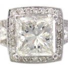 GIA H-SI1 18K White Gold Princess Cut Diamond Engagement Ring Art Deco 3.00ctw