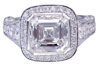 18k White Gold Asscher Cut Diamond Bezel Engagement Ring 3.30ctw G-VS2 EGL USA