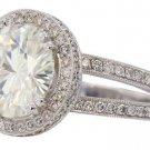 18K WHITE GOLD ROUND DIAMOND ENGAGEMENT RING ANTIQUE DECO SPLIT BAND 2.65CTTW