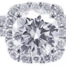 GIA F-SI1 18k Whtie Gold Round Cut Diamond Engagement Ring And Band Halo 2.00ctw