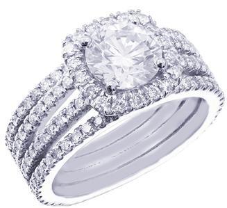 18K WHITE GOLD ROUND CUT DIAMOND ENGAGEMENT RING ART DECO 1.89CT H-SI1 EGL USA
