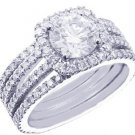 18K WHITE GOLD ROUND CUT DIAMOND ENGAGEMENT RING ART DECO 1.89CT H-SI1 EGL USA