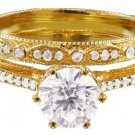 14k Yellow Gold Round Cut Diamond Engagement Ring And Band Deco Antique 1.40ct