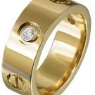 18K Yellow Gold Round Cut Diamond Band Ring Bezel Set Love Ring Style 0.25ct 7mm