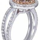 18K WHITE GOLD ROUND CUT DIAMOND ENGAGEMENT RING AND BAND DIAMOND DECO 1.95CTW