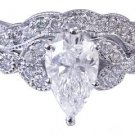 18k White Gold Pear Shape Diamond Engagement Ring And Band Antique Deco 1.05ct