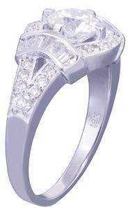 GIA E-SI1 18k white gold round cut diamond engagement ring art deco halo 1.65ctw