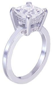 Platinum princess cut diamond engagement ring deco filigree 1.70ct F-SI1 EGL USA