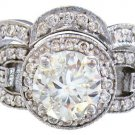14K WHITE GOLD ROUND CUT DIAMOND ENGAGEMENT RING AND BAND ART DECO DESIGN 1.98CT