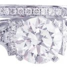 14K WHITE GOLD ROUND CUT DIAMOND ENGAGEMENT RING AND BAND ART DECO 2.40CTW
