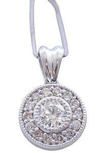 14K WHITE GOLD ROUND CUT DIAMOND BEZEL SET ANTIQUE STYLE NECKLACE 0.78CTW
