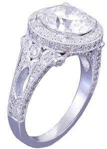 18k white gold round cut diamond engagement ring art deco 2.70ctw H-VS2 EGL USA