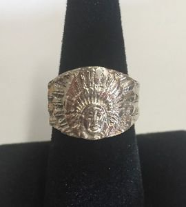 Beautiful Mens/Women Sterling Silver 925 INDIAN Chief Head Feathers Ring Size 10