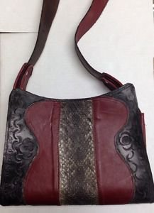"""Western Handmade Red/Burgandy Hand Bag/Purse Leather/Snake 10"""" by 8"""" by 3"""" - New"""