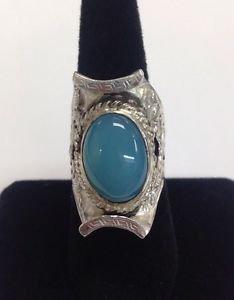Handmade Sterling Silver 925 Mens Ring Blue Chrysoprase? 17mm x 12mm Size 9.5