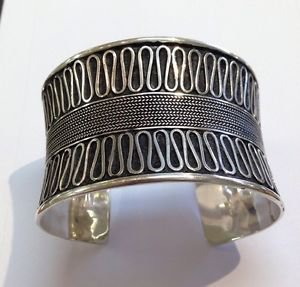 Beautiful Balinese Style Solid Sterling Silver 925 Cuff Bracelet Fashion Designe