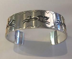RELIOS Carolyn Pollack Signed DH STERLING Silver Cuff Bracelet Buffalos Wichita