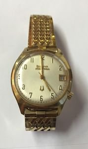 Vintage BULOVA Accutron N5 Date Gold Plated Bezel 10K Rolled Gold Plate Back WR