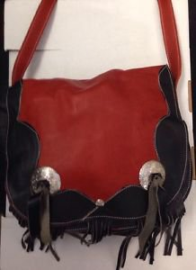 "Western Handmade Leather/Suede w/2 STERLING Conchos Shoulder Bag 12"" x 10"" x 3.5"