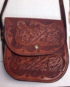 """Western Handmade Tool Designed Cowboy Horse Leather Saddle Bag 10"""" x 10"""" x 3"""" Ne"""