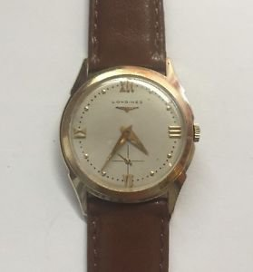 Vintage Mens LONGINES 14K Solid GOLD 30mm Wristwatch Very Rare! Wind-up Working!