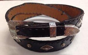 """Western Handmade Lined Taper Belt Sz 40 & 3pc Sterling Buckle w/Concho 1.5"""" & 1"""""""